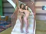 gauge and asian babe doing stairs lesbian action